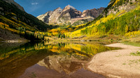 Iconic View of Maroon Bells and Maroon Lake